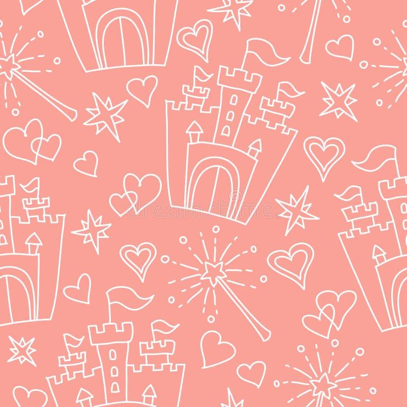 Hand getrokken vector naadloos prinsespatroon vector illustratie