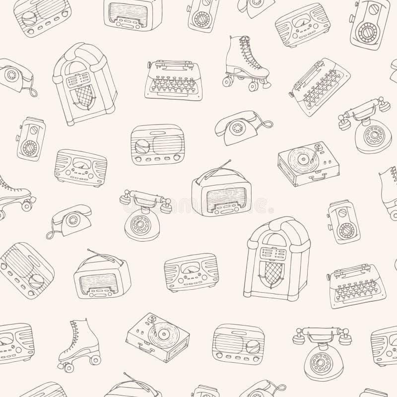 Hand getrokken vector retro naadloos patroon met antieke technologie, scoo stock illustratie