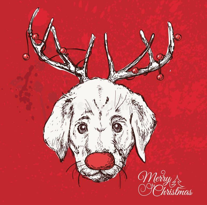 Hand getrokken vector van pug met Kerstmis vector illustratie