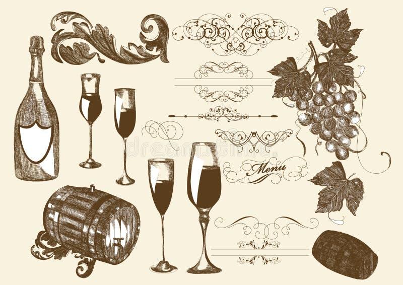 Hand getrokken vector vastgestelde wijn en wijnbereidingselementen vector illustratie