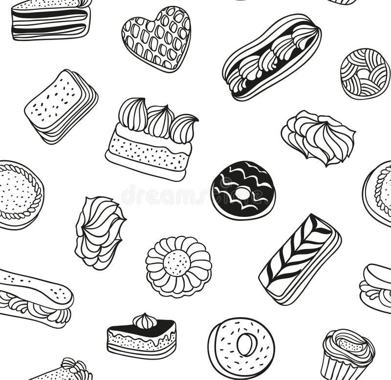 Hand getrokken vector zwart-witte achtergrond met cakes, koekjes en andere snoepjes Naadloos patroon met desserts stock illustratie