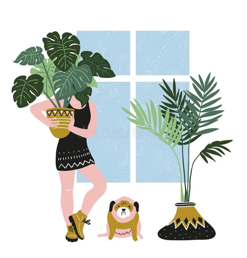 Hand getrokken vectoraffiche met tropische huisinstallaties, jonge vrouw en leuke hond Modern en elegant huisdecor vector illustratie