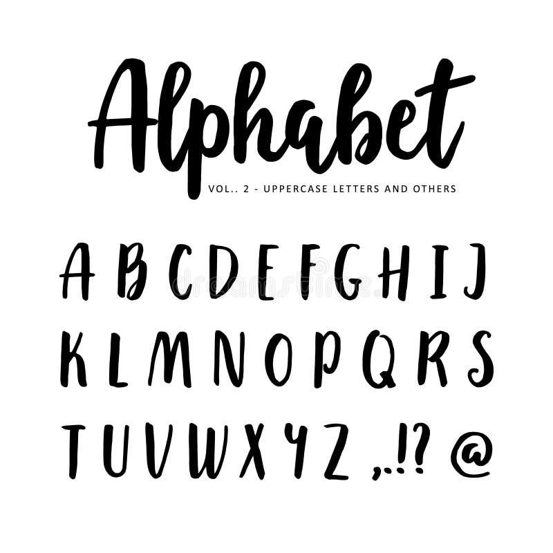 Hand getrokken vectoralfabet, doopvont Geïsoleerde die brieven met teller of inkt, borstelmanuscript worden geschreven stock illustratie
