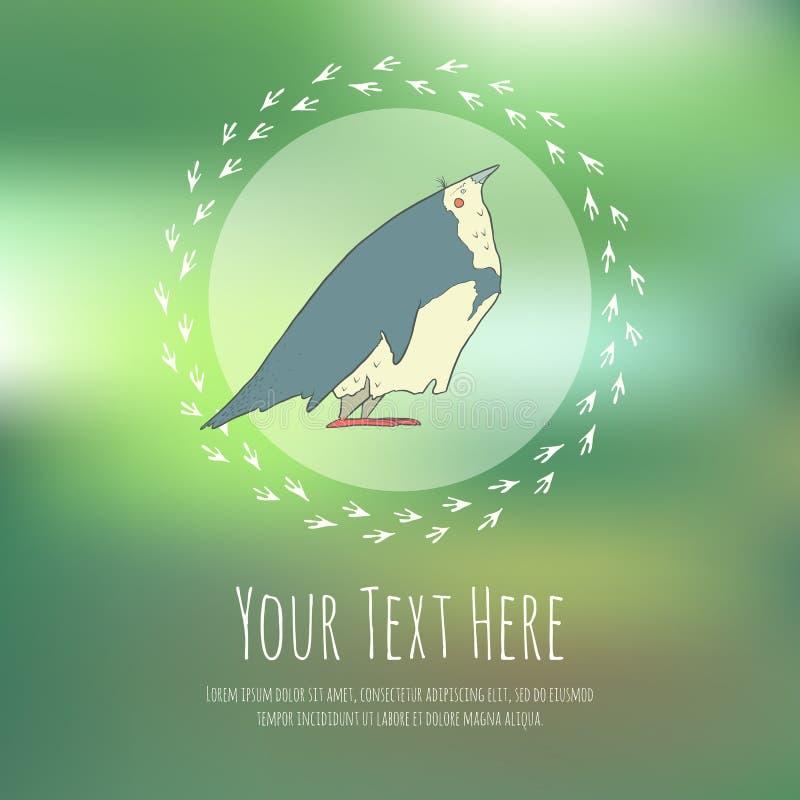Hand getrokken vectorbeeldverhaalvogel op vaag vector illustratie