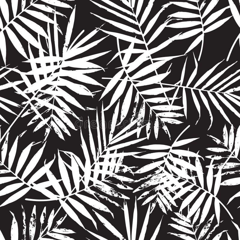 Hand getrokken vectorblad naadloos patroon stock illustratie