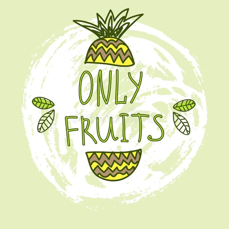 Hand getrokken vectorelementen Slechts Vruchten embleem Kan voor advertenties, uithangborden, identiteit en Webontwerpen worden g royalty-vrije illustratie