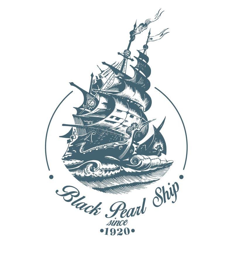 Hand getrokken vectorembleem van uitstekend varend schip in het overzees royalty-vrije illustratie