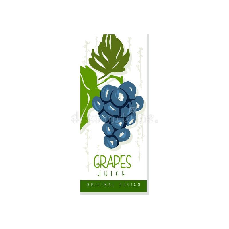 Hand getrokken vectoretiket met sappige druif en groene bladeren Vers en natuurlijk fruit Gezond en biologisch product royalty-vrije illustratie