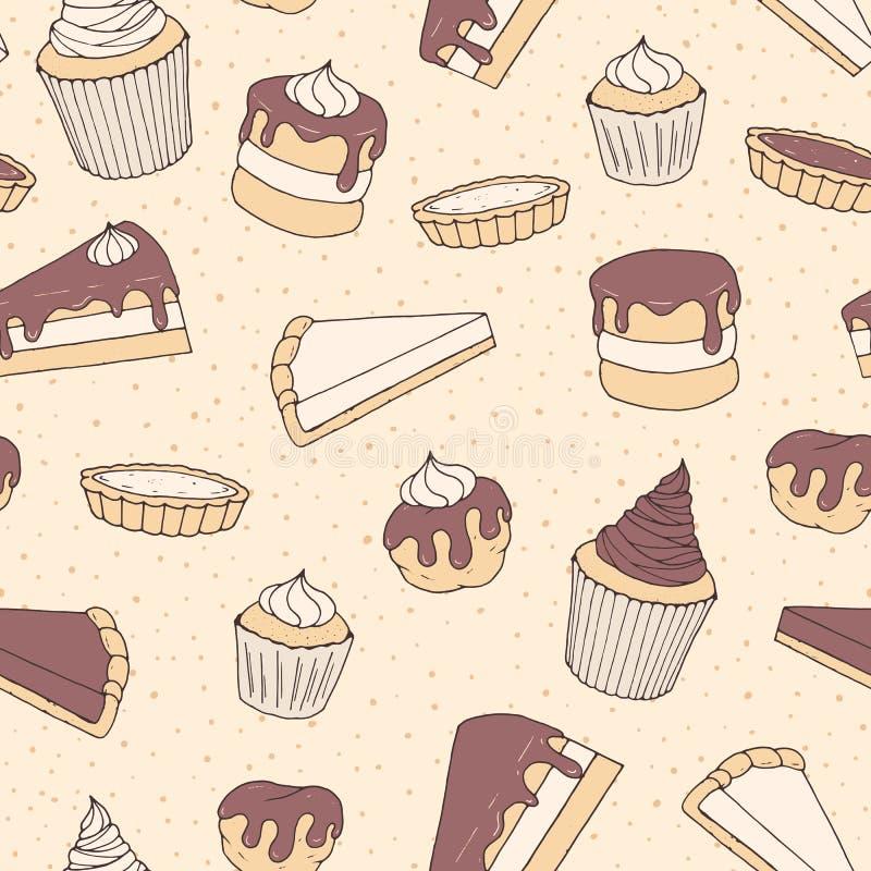 Hand getrokken vectorgebakje naadloos patroon met cake en pastei piec vector illustratie