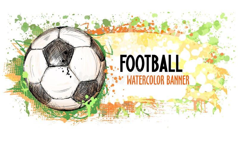 Hand getrokken vectorgrungebanner met voetbalbal en plonsen stock illustratie