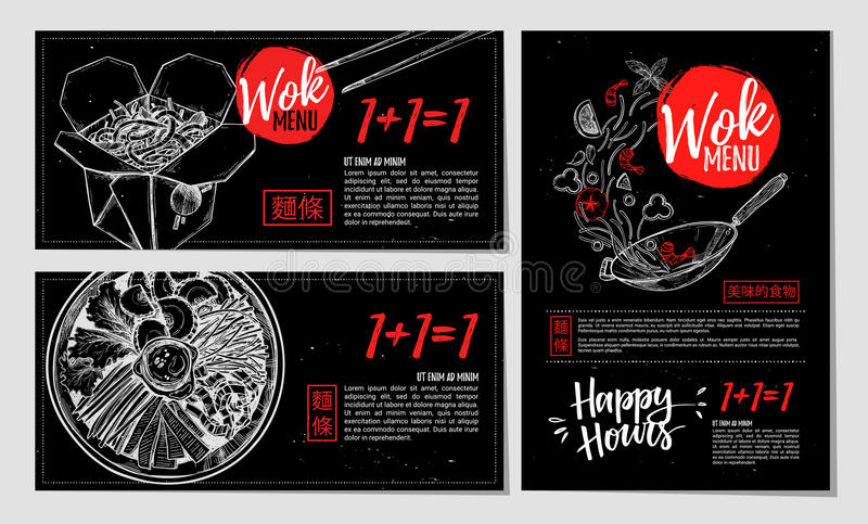 Hand getrokken vectorillustratie Brochures met Aziatisch voedsel Wok m royalty-vrije illustratie