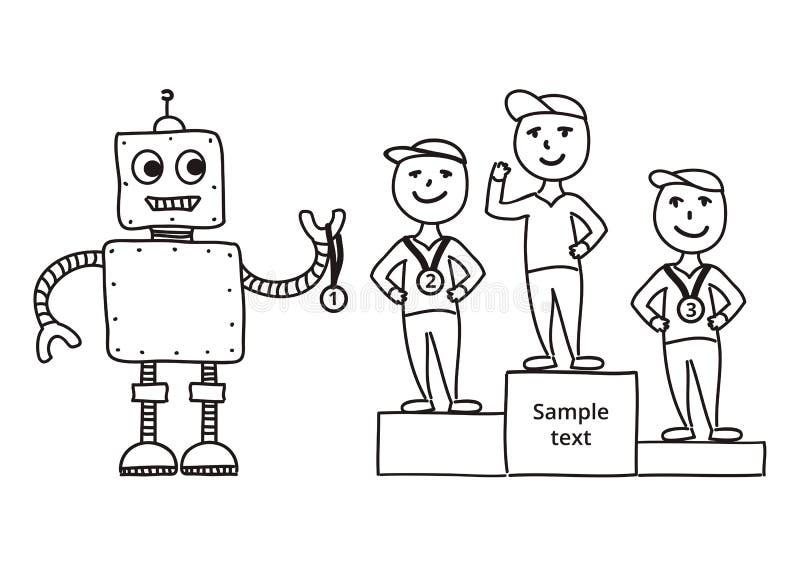 Hand getrokken vectorillustratie, de toekenningswinnaars van de beeldverhaalrobot stock illustratie