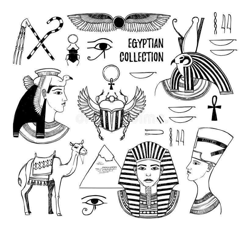 Hand getrokken vectorillustratie - Egyptische inzameling Goden van stock illustratie