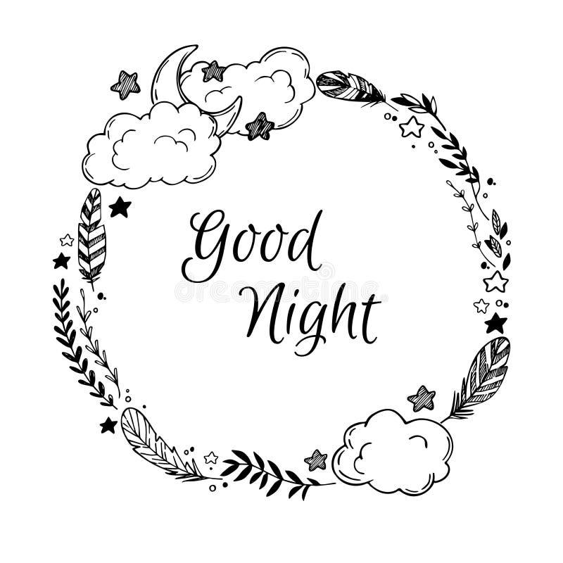 Hand getrokken vectorillustratie - goede nacht, kaart met Kroon vector illustratie