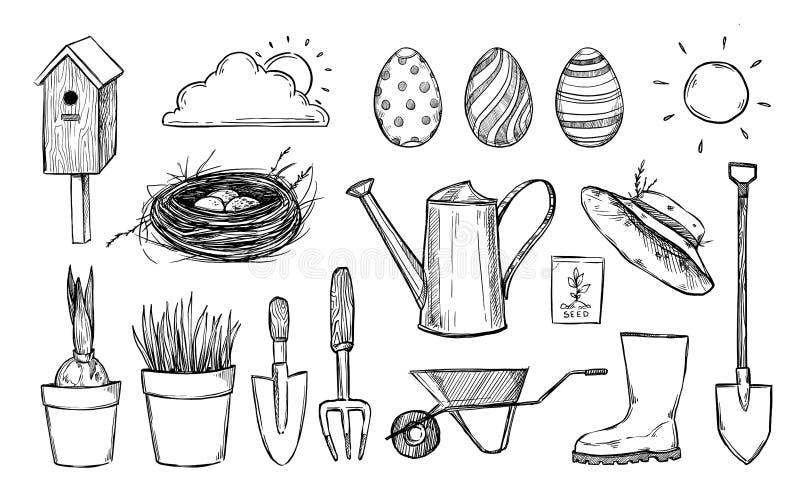 Hand getrokken vectorillustratie Het vogelhuis van de tuininzameling, Ne stock illustratie