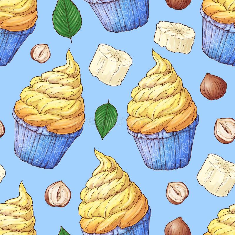 Hand getrokken vectorillustratie - Inzameling ofcupcake Naadloos patroon stock illustratie