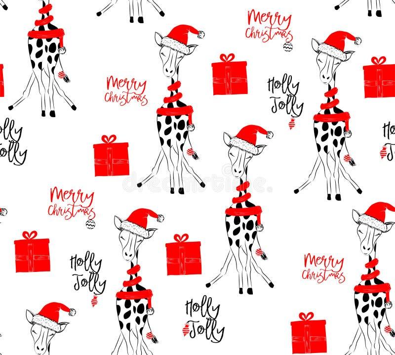 Hand getrokken vectorillustratie met een leuke babygiraf die vierend Vrolijke Kerstmis - naadloos patroon vieren vector illustratie