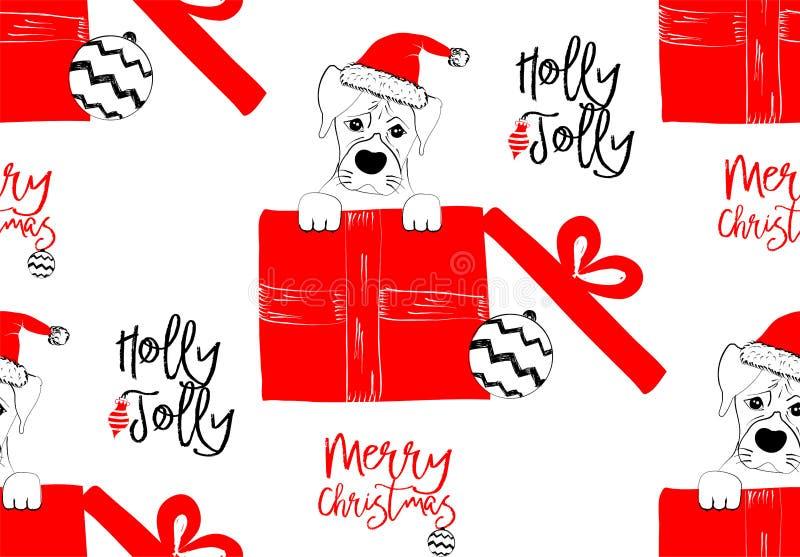 Hand getrokken vectorillustratie met een leuke babyhond die vierend Vrolijke Kerstmis - naadloos patroon vieren stock illustratie