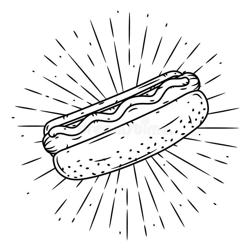 Hand getrokken vectorillustratie met hotdog en uiteenlopende stralen Gebruikt voor affiche, banner, Web, t-shirtdruk, zakdruk royalty-vrije illustratie