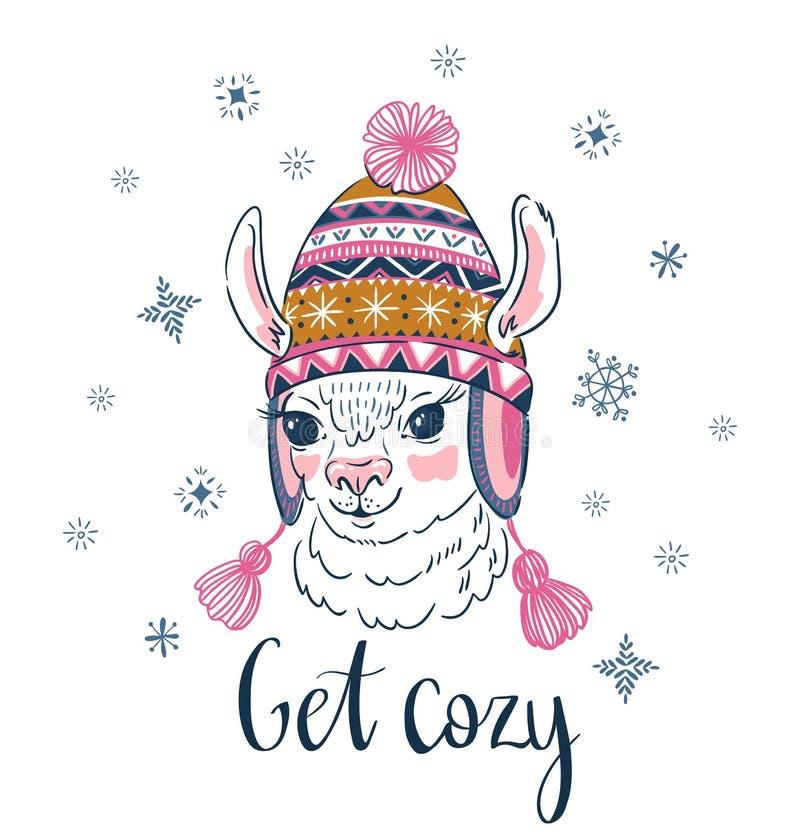 Hand getrokken vectorillustratie met portret van de alpaca in een gebreid sierglb Druk voor t-shirtontwerp, kaart stock illustratie