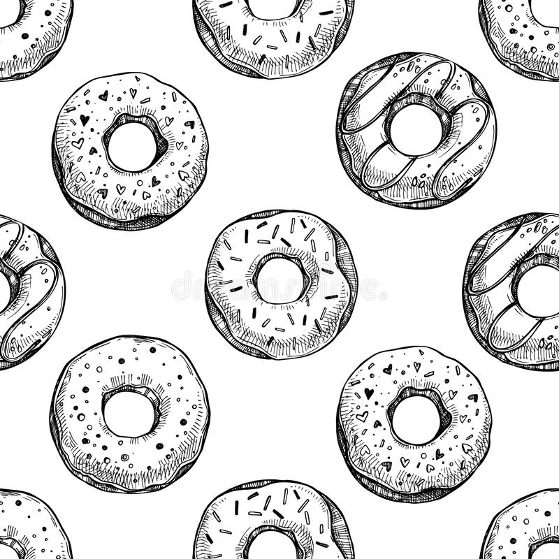 Hand getrokken vectorillustratie - Naadloos patroon met smakelijke donuts royalty-vrije illustratie