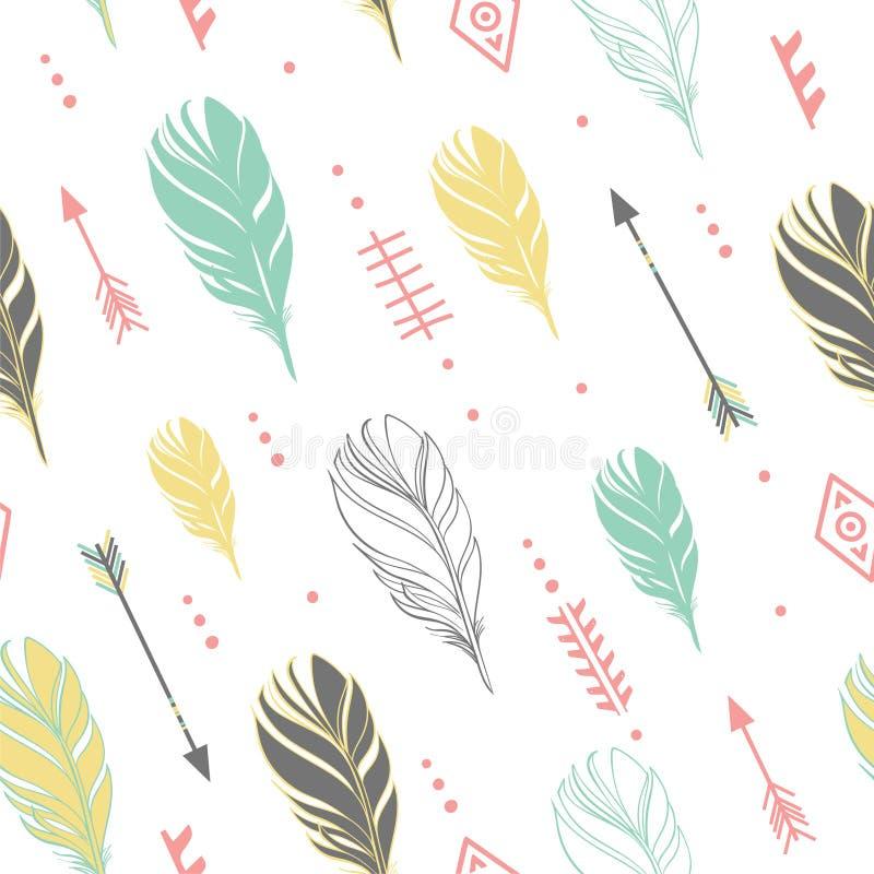 Hand getrokken vectorillustratie Naadloos patroon met stammenpijlen op witte achtergrond Perfectioneer voor behang stock illustratie