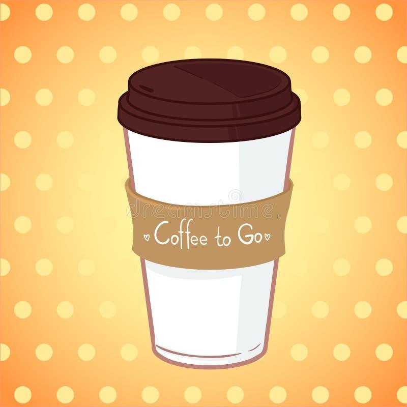 Hand getrokken vectorillustratie - neem koffie om te gaan stock illustratie