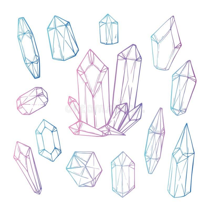 Hand getrokken vectorillustratie - Reeks geometrische kristallen royalty-vrije illustratie