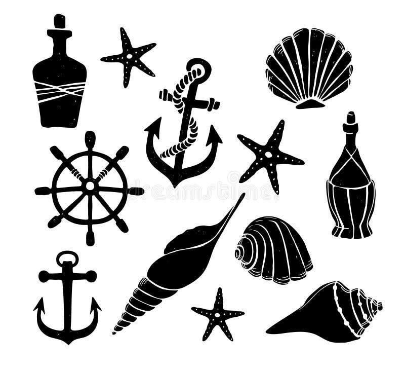 Hand getrokken vectorillustratie - Reeks van overzees Elementen voor ontwerp vector illustratie
