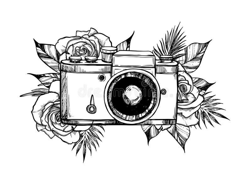 Hand getrokken vectorillustratie - retro camera met bloem bouque vector illustratie