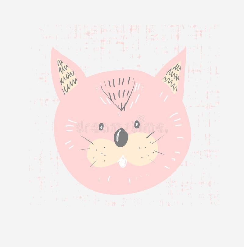 Hand getrokken vectorillustratie van een leuk grappig kattengezicht, met het van letters voorzien van citaatmiauw Geïsoleerde voo stock illustratie