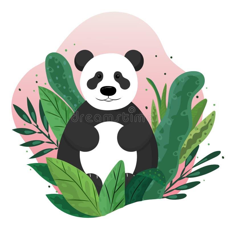 Hand getrokken vectorillustratie van een leuke zitting van de beeldverhaalpanda op groene bladeren stock illustratie