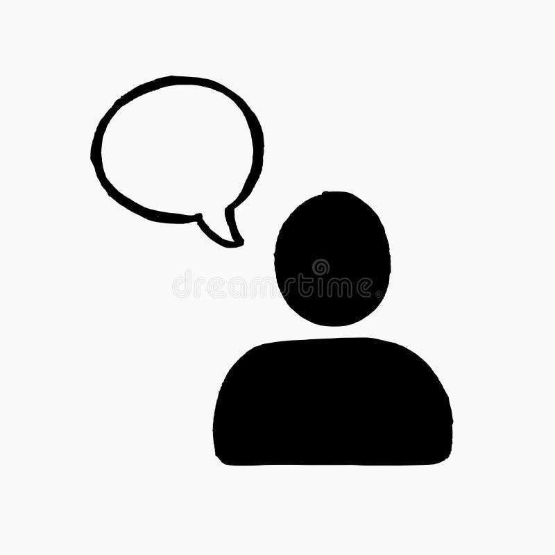 Hand getrokken vectorillustratie van een mensenpictogram met een toespraakbel die op witte achtergrond wordt geïsoleerd royalty-vrije illustratie