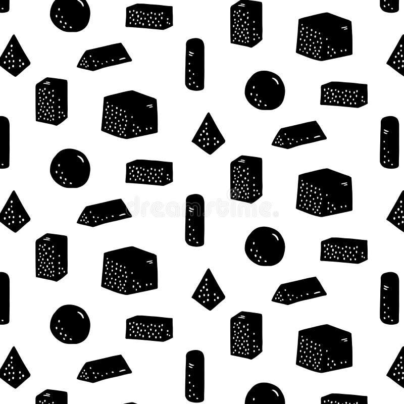 Hand getrokken vectorillustratie van geometrisch vormpatroon Abstract krabbelbehang vector illustratie