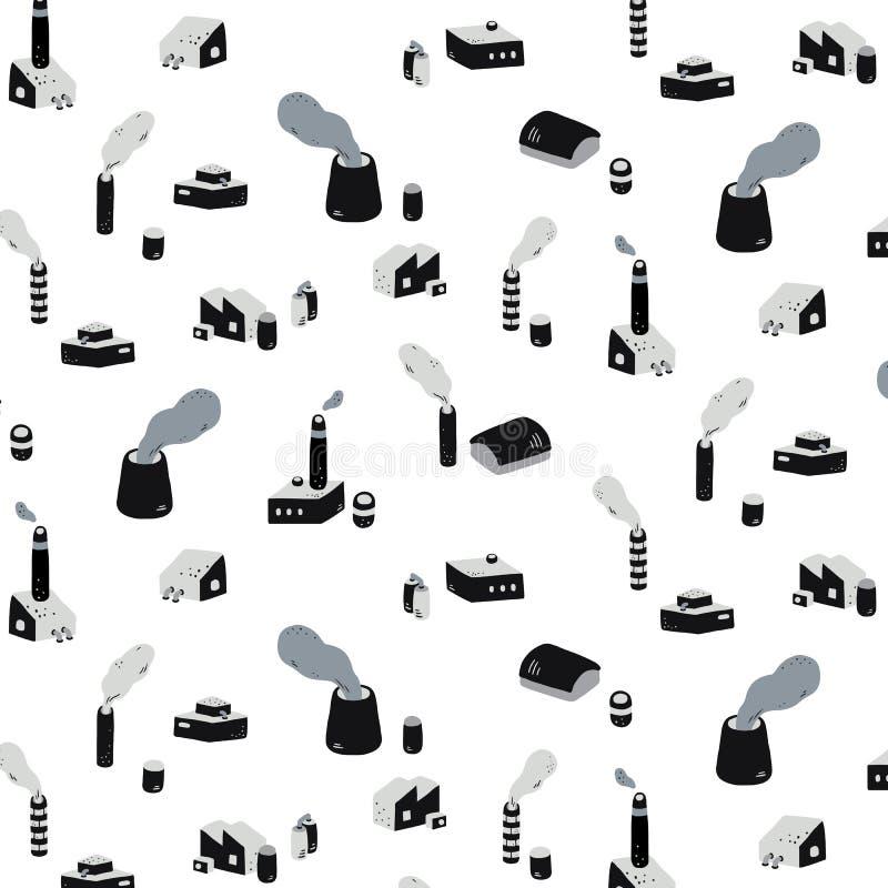Hand getrokken vectorillustratie van industriële fabrieksgebouwen met rookpatroon Abstract krabbelbehang vector illustratie