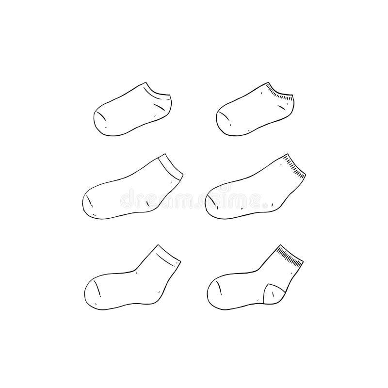 Hand getrokken vectorillustratie van lege sok op witte achtergrond Wit sokmalplaatje lange en korte sokspot omhoog royalty-vrije illustratie