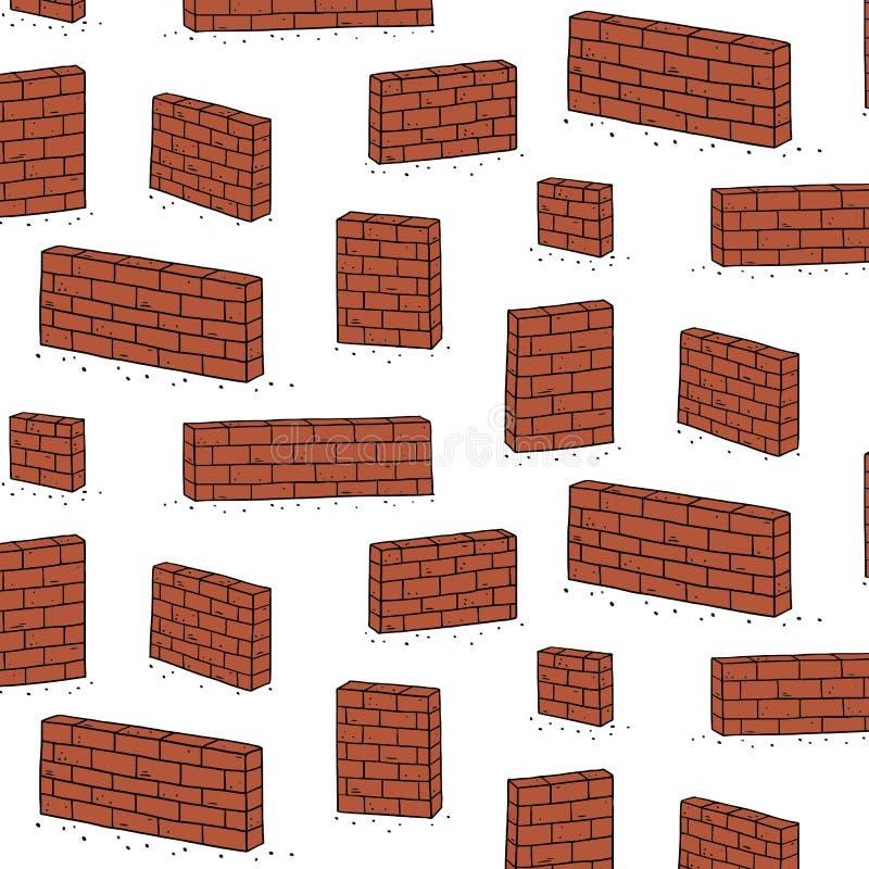 Hand getrokken vectorillustratie van rood bakstenen muurpatroon Abstract krabbelbehang stock illustratie