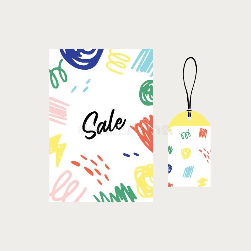 Hand getrokken vectorillustratie van verkoopaffiche en het patroon van de markeringskrabbel op witte achtergrond stock illustratie