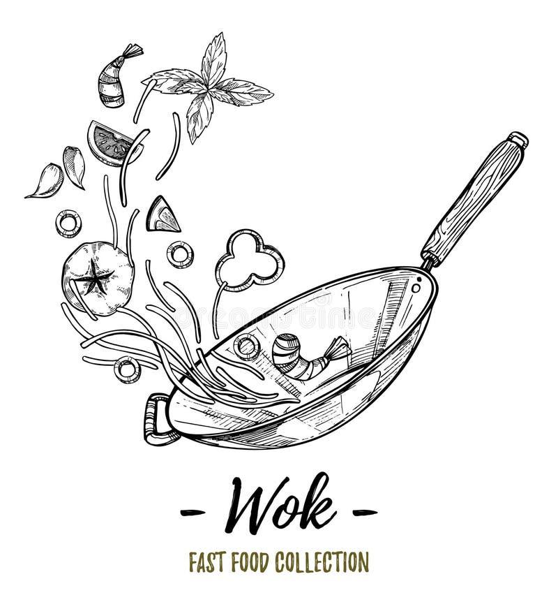 Hand getrokken vectorillustratie - Wok Wok pan, Chinese noedels, royalty-vrije illustratie