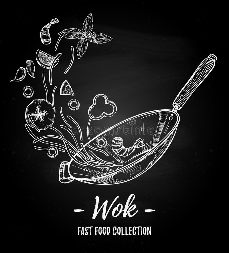 Hand getrokken vectorillustratie - Wok Wok pan, Chinese noedels, stock illustratie