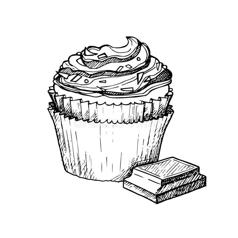 Hand getrokken vectorillustratie - Zoete cupcake met room en CH royalty-vrije illustratie