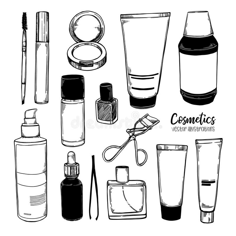 Hand getrokken vectorillustraties - Reeks kosmetische kruiken Huidauto royalty-vrije illustratie