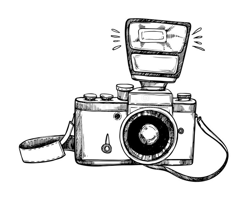 Hand getrokken vectorillustraties Retro camera met flits en lak vector illustratie