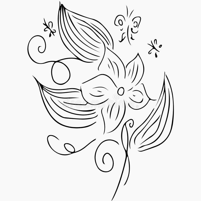 Hand Getrokken Vectorillustraties van Abstracte die Reeks Bloemen en Vlinders op Grijs worden ge?soleerd Bloemenontwerpelementen  vector illustratie