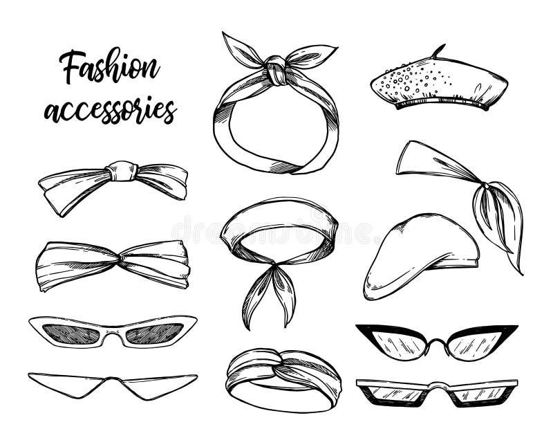 Hand getrokken vectorillustraties Zonnebril en hoofddeksels Fash stock illustratie