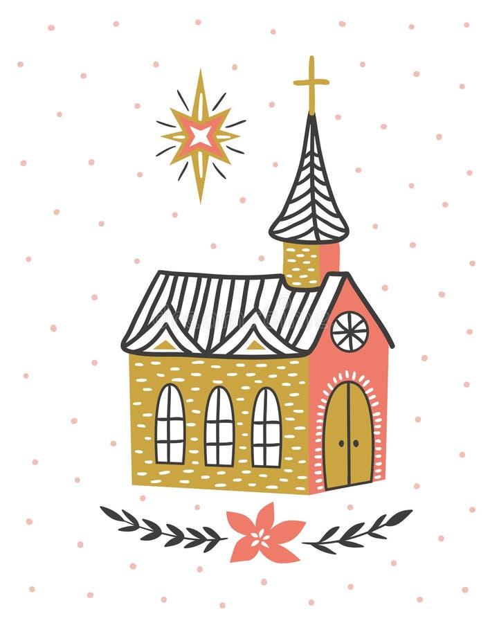 Hand getrokken vectorkaart met de Katholieke tempel en de ster van Bethlehem Het ontwerp van de Kerstmisdruk vector illustratie