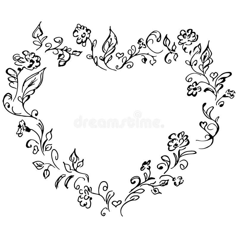 Hand getrokken vectorkroon in vorm van hart Bloemen het ontwerpelementen van het cirkelkader voor uitnodigingen, groetkaarten, af stock illustratie