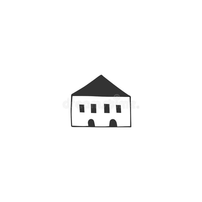 Hand getrokken vectorpictogram, een huis Het thema van de bezitshuur vector illustratie