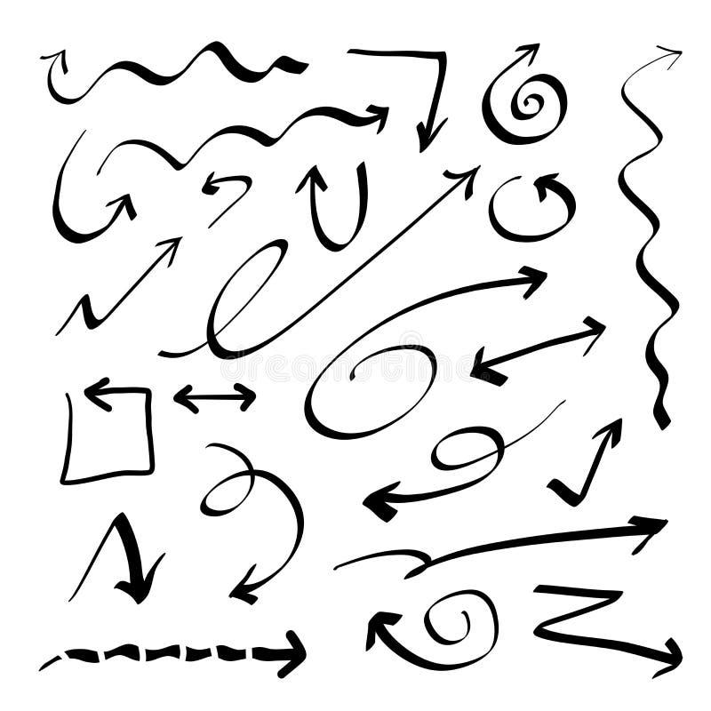 Hand getrokken vectorpijlen stock illustratie