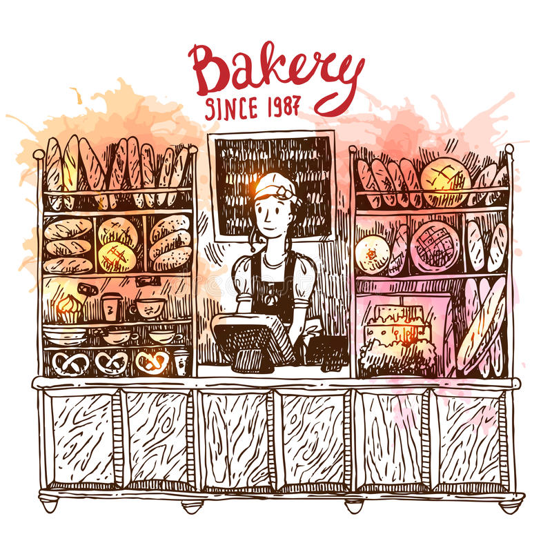 Hand getrokken vectorschetsbinnenland van bakkerijwinkel royalty-vrije illustratie